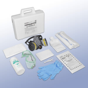Formaldehyde Spill Response Kit contents. Gloves, respirator, vented goggles, wiper pads, and more.