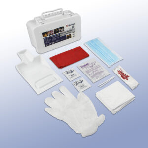 National Standard EZ-Cleans Kit contents. Gloves, odor mask, hand wipes, red biohazard waste bag, and more