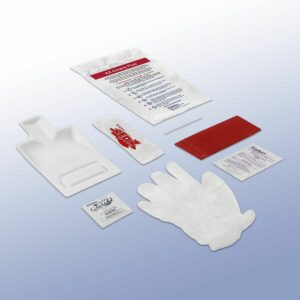 EZ Cleans Plus Kit contents. Gloves, Red Z pouches, individual wipes, red biohazard waste bag, and more.