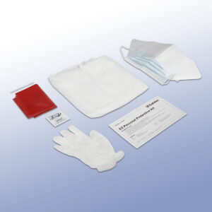 EZ-Personal Protection Kit contents. Gloves, fluid-resistant gown, red biohazard waste bag, and more