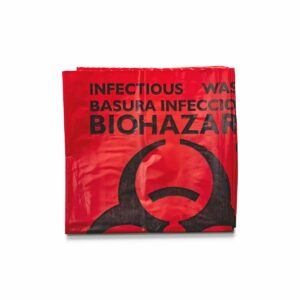 Red infectious waste biohazard bag