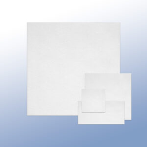 White Zorb sheets of various sizes in front of a blue background
